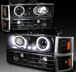 Chevy Silverado 1994-1998 Black Halo Headlights and Bumper Lights