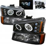 2003 Chevy Silverado 2500 Black Projector Headlights and Bumper Lights