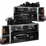 GMC Suburban 1994-1999 Black Euro Headlights and Bumper Lights
