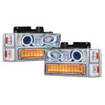 Chevy Suburban 1994-1999 Clear Halo Headlights and LED Bumper Lights