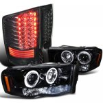 2002 Dodge Ram Smoked Halo Headlights and LED Tail Lights