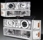 GMC Suburban 1994-1999 Clear Halo Headlights and Bumper Lights