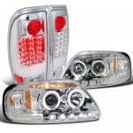 2002 Ford F150 Chrome Halo Projector Headlights and LED Tail Lights
