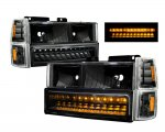 GMC Sierra 1994-1998 Black Headlights and LED Bumper Lights