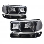 GMC Sierra 2500 1999-2004 Black Clear Headlights and Bumper Lights