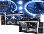 Chevy Suburban 1994-1999 Black Halo Projector Headlights and Corner Lights
