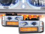 1997 Chevy 1500 Pickup Chrome Halo Projector Headlights and LED Bumper Lights