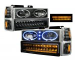 Chevy Suburban 1994-1999 Black Halo Headlights and LED Bumper Lights