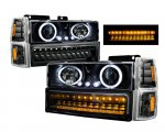 1997 Chevy 1500 Pickup Black Halo Projector Headlights and LED Bumper Lights