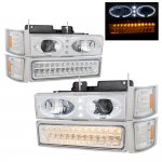 Chevy 2500 Pickup 1994-1998 Chrome Halo Projector Headlights and LED Bumper Lights