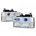 Chevy 3500 Pickup 1994-1998 Chrome Halo Projector Headlights and Bumper Lights