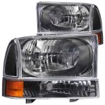 2000 Ford F250 Super Duty Crystal Headlights and Corner Lights Black