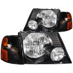 Ford Explorer 2002-2005 Headlights and Corner Lights Black