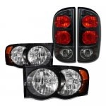 Dodge Ram 2500 2003-2005 Black Headlights and Tail Lights