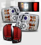 Chevy Silverado 2007-2013 Chrome Headlights CCFL Halo and Red Clear LED Tail Lights