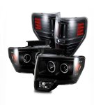 2010 Ford F150 Black CCFL Halo Projector Headlights and LED Tail Lights
