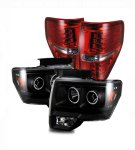 2010 Ford F150 Black CCFL Halo Headlights and Red LED Tail Lights
