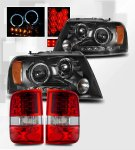 2004 Ford F150 Black Headlights and Red Clear LED Tail lights