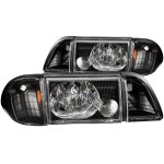 Ford Mustang 1987-1993 Headlights and Corner Lights Black