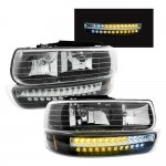 2001 Chevy Silverado Headlights and LED Bumper Lights Black