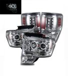 2009 Ford F150 Chrome CCFL Halo Projector Headlights and LED Tail Lights