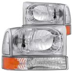 Ford F250 Super Duty 1999-2004 Crystal Headlights and Corner Lights Chrome