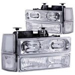 Chevy Suburban 1994-1999 Clear Halo Euro Headlights and Bumper Lights
