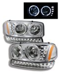 2003 GMC Sierra Halo Headlights and LED Bumper Lights Chrome