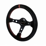 Black Suede 330mm Deep Dish Steering Wheel