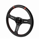 Black PVC Leather 340mm Deep Dish Steering Wheel
