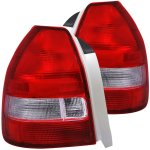 2000 Honda Civic Hatchback Custom Tail Lights Red and Clear