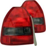 Honda Civic Hatchback 1996-2000 Custom Tail Lights Red and Smoked