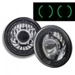 2014 Jeep Wrangler Black Chrome Headlights Conversion Green LED Halo