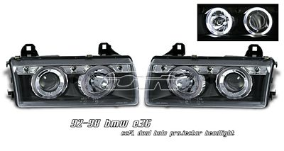 BMW E36 3 Series 1992-1998 Black Dual CCFL Halo Projector Headlights