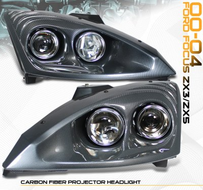 Ford Focus 2000-2004 Carbon Fiber Projector Headlights