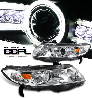 Honda Civic Coupe 2006-2011 Clear CCFL Halo Projector Headights