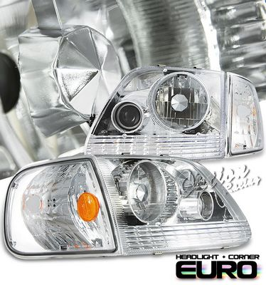 Ford Expedition 1997-2002 Clear Projector Headlights and Corner Lights Set
