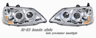 Honda Civic 2001-2003 Clear Dual Halo Projector Headlights
