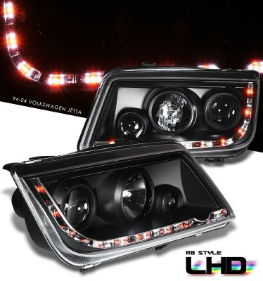 VW Jetta 1999-2004 Black Projector Headlights with LED DRL