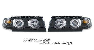 BMW E38 7 Series 1995-2001 Black Dual CCFL Halo Projector Headlights