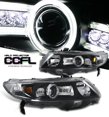 Honda Civic Coupe 2006-2011 JDM Black CCFL Halo Projector Headights