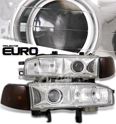 Honda Accord 1992-1993 Clear Projector Headlights and Smoked Amber Corner Lights
