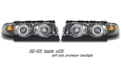 BMW E38 7 Series 1995-2001 Smoked Dual CCFL Halo Projector Headlights