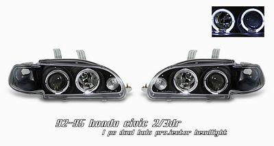 Honda Civic 1992-1995 Anzo JDM Black Dual Halo Projector Headlights