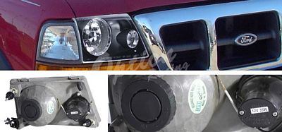Ford Ranger 1998-2000 Black Projector Headlights