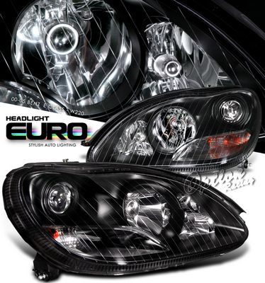 Mercedes Benz S Class 2000-2006 Black Projector Headlights