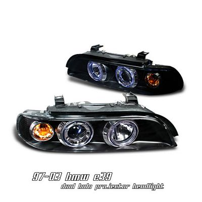 BMW E39 5 Series 1997-2003 Black Dual Halo Projector Headlights