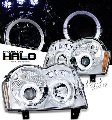 Jeep Grand Cherokee 2005 2007 Clear Halo Projector Headlights With Led A101zu0e101 Topgearautosport