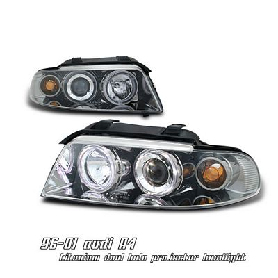 Audi A4 2000-2001 Smoked Dual Halo Projector Headlights