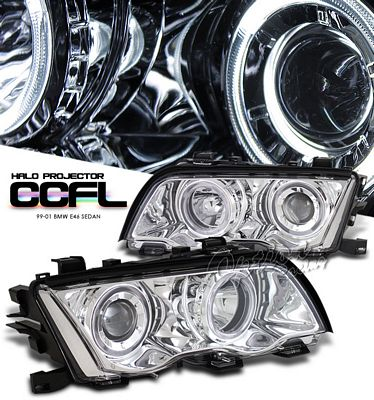 BMW E46 Sedan 3 Series 1999-2001 Clear Dual CCFL Halo Projector Headlights
